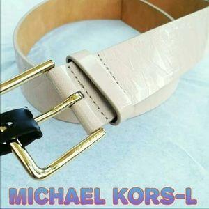 New! Michael Kors Blush Monogrammed Belt